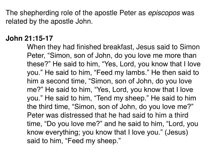 The shepherding role of the apostle Peter as