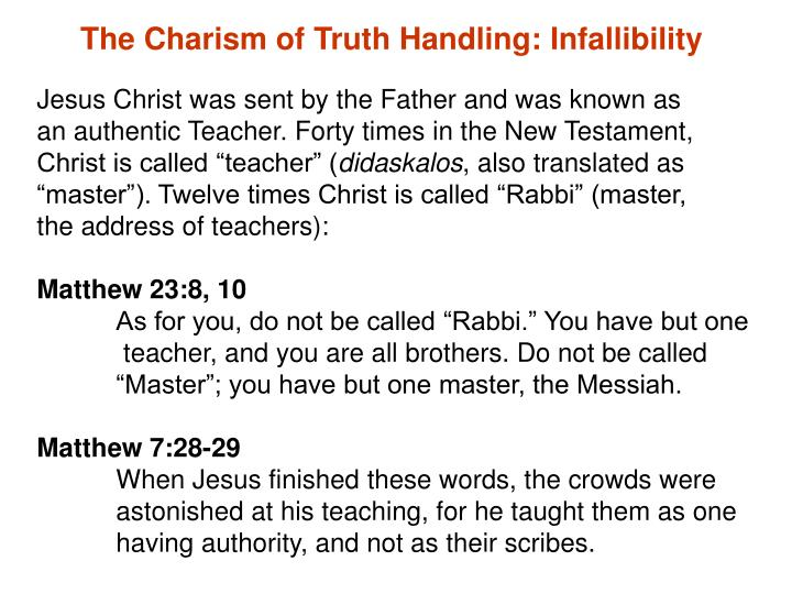 The Charism of Truth Handling: Infallibility