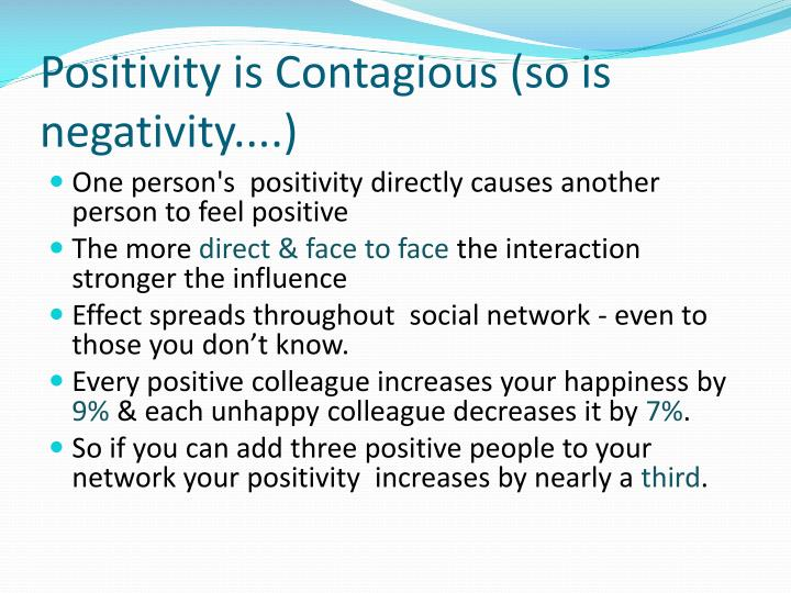 Positivity is Contagious (so is negativity....)