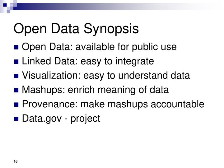 Open Data Synopsis