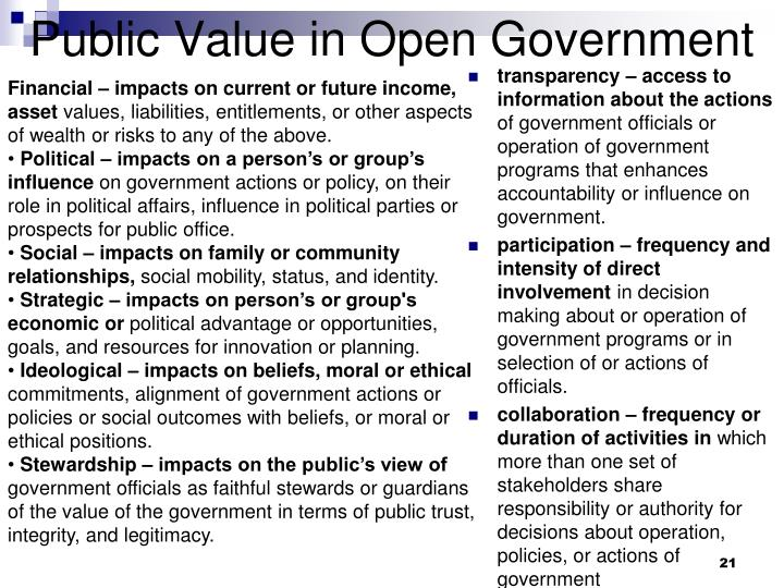Public Value in Open Government
