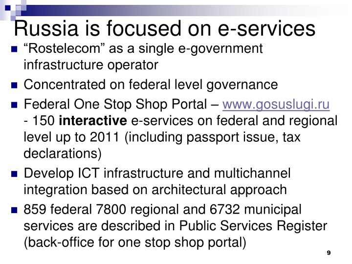 Russia is focused on e-services