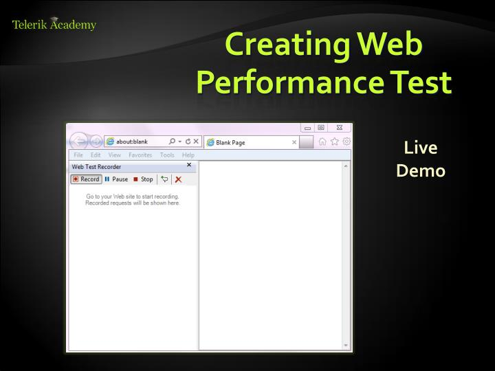 Creating Web Performance Test