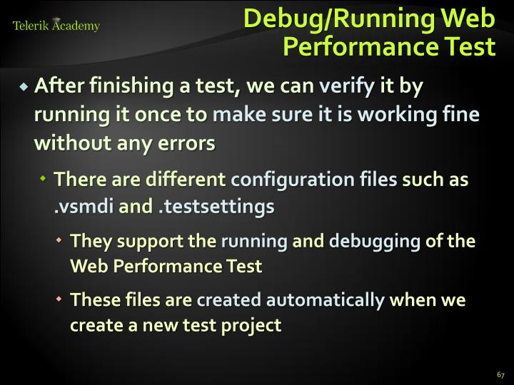 Debug/Running Web Performance Test