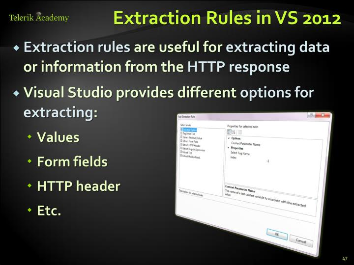 Extraction Rules in VS