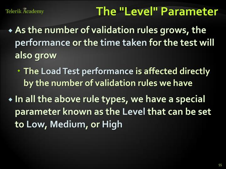 "The ""Level"" Parameter"