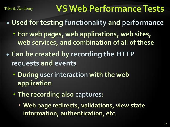 VS Web Performance Tests
