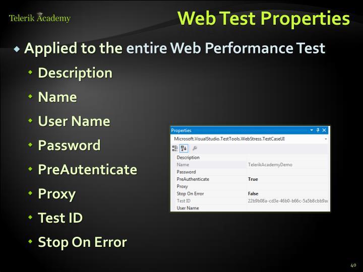 Web Test Properties
