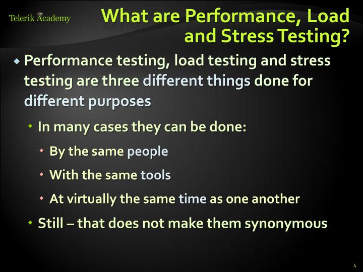 What are Performance, Load and Stress Testing?