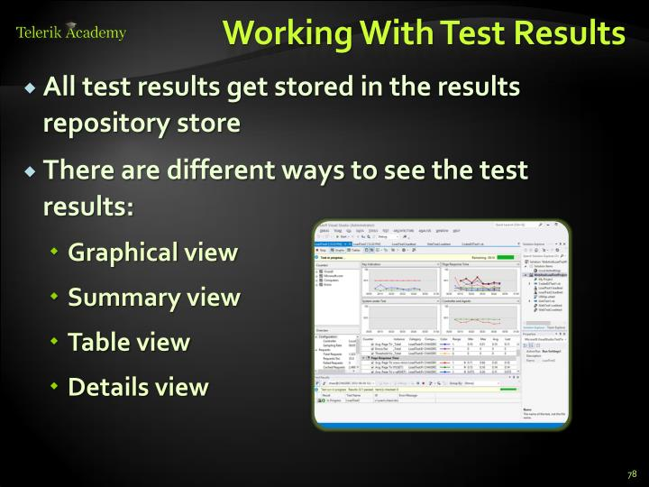 Working With Test Results