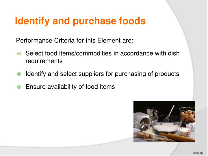 Identify and purchase foods