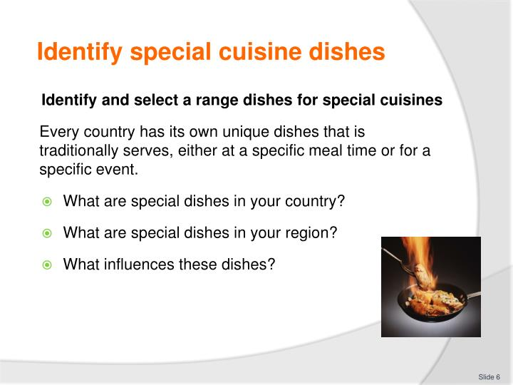 Identify special cuisine dishes