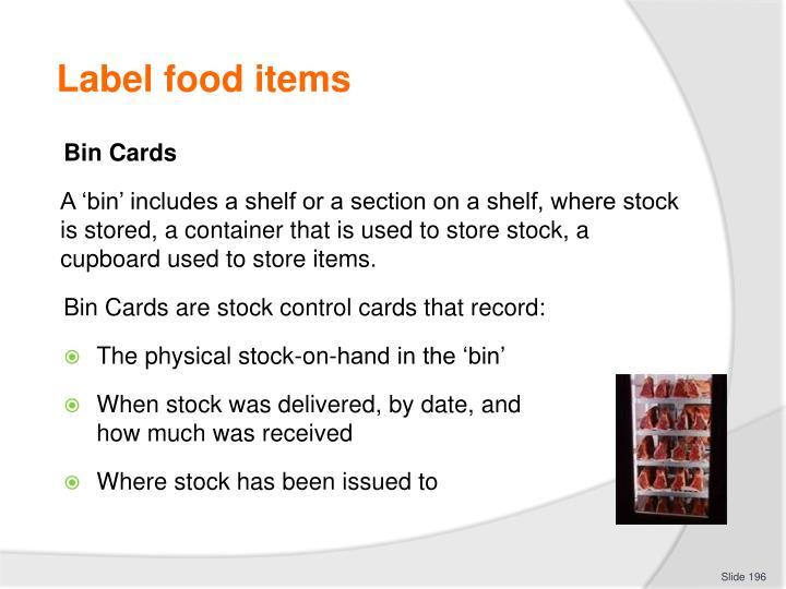Label food items