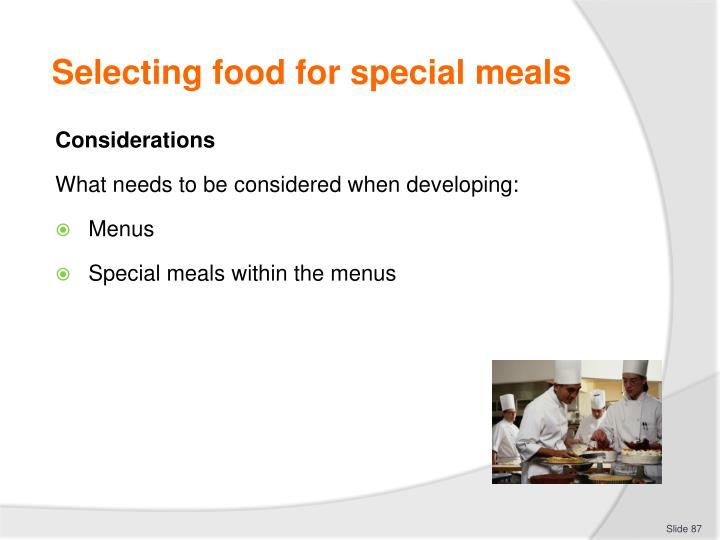 Selecting food for special meals