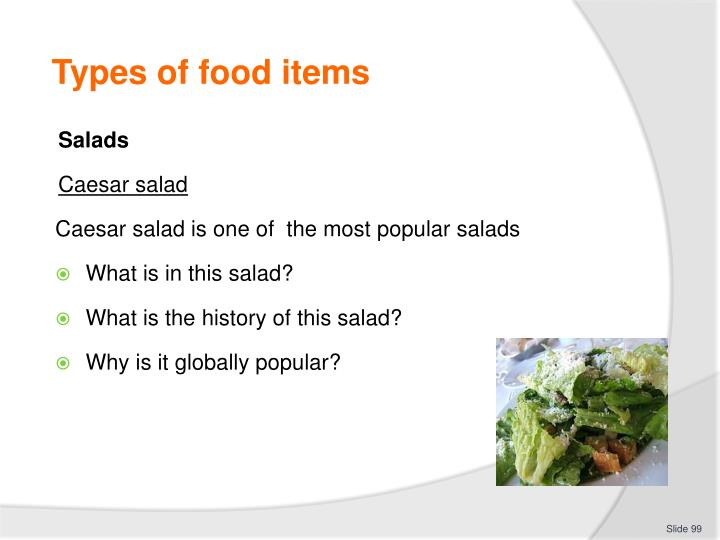 Types of food items