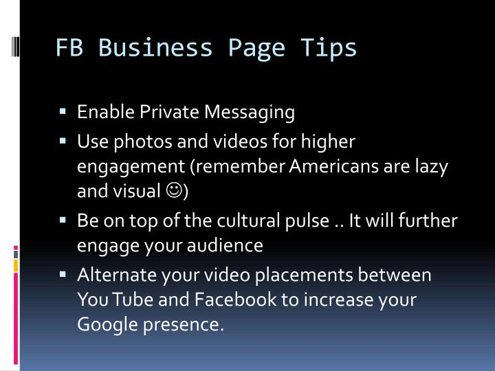 FB Business Page Tips