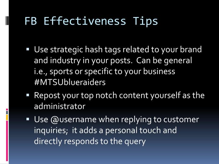 FB Effectiveness Tips