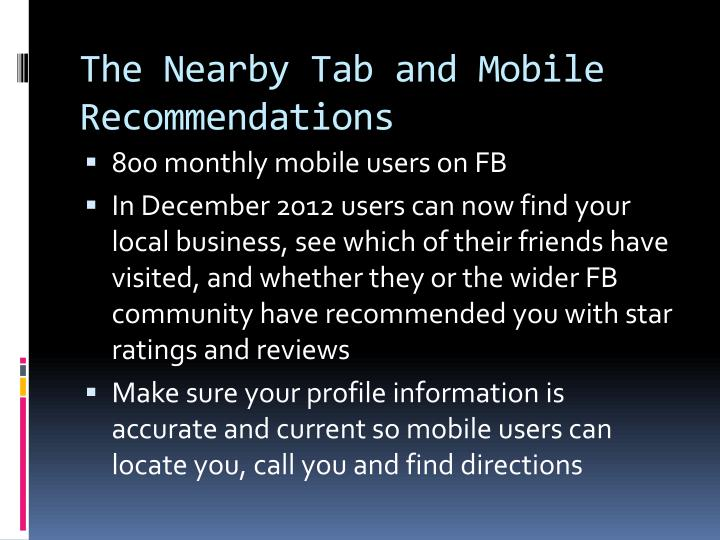 The Nearby Tab and Mobile Recommendations