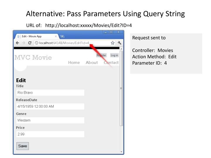 Alternative: Pass Parameters Using Query String