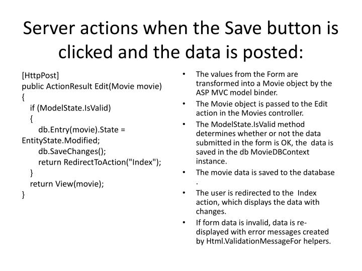Server actions when the Save button is clicked and the data is posted: