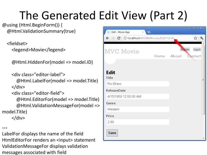 The Generated Edit View (Part
