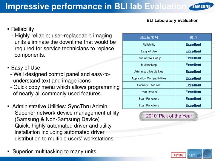 Impressive performance in BLI lab Evaluation