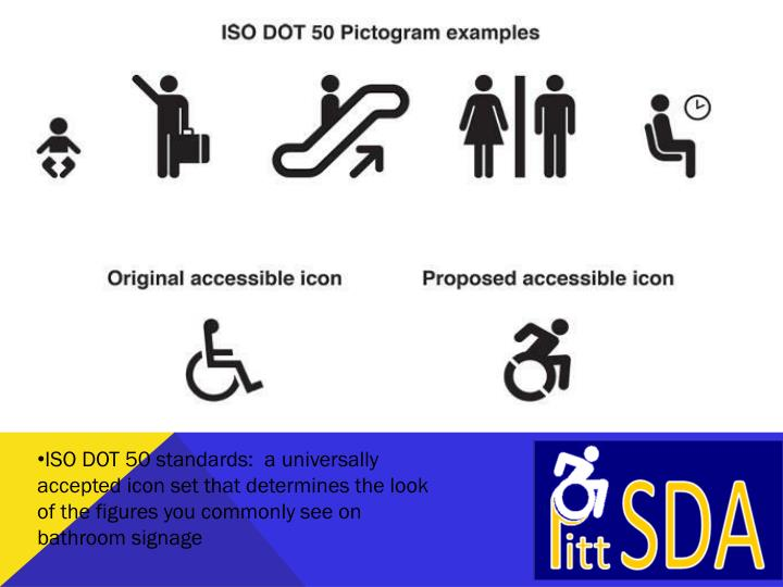 ISO DOT 50 standards:  a universally accepted icon set that determines the look of the figures you commonly see on bathroom signage