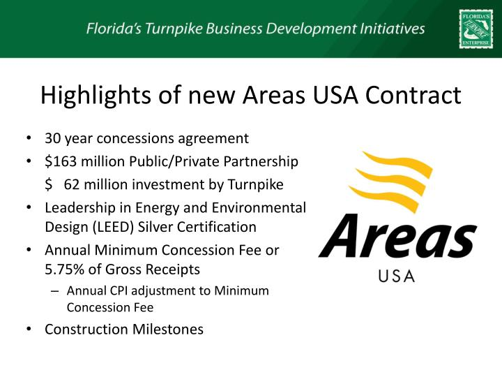 Highlights of new Areas USA Contract