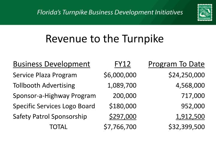 Revenue to the Turnpike