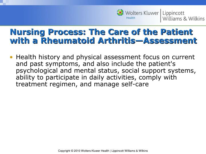 Nursing Process: The Care of the Patient with a Rheumatoid Arthritis—Assessment