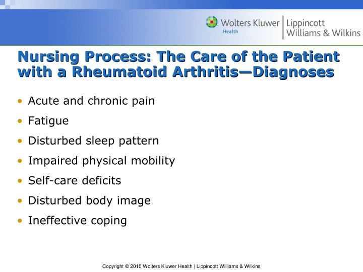 Nursing Process: The Care of the Patient with a Rheumatoid Arthritis—Diagnoses