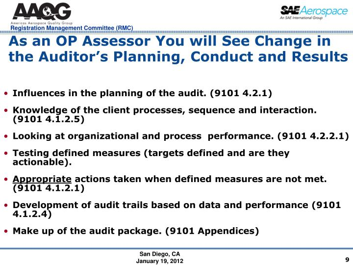 As an OP Assessor You will See Change in the Auditor's Planning, Conduct and Results