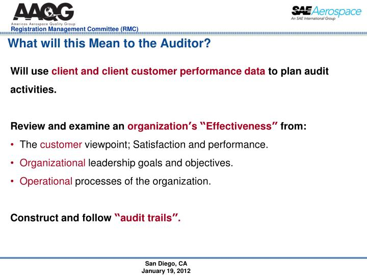 What will this Mean to the Auditor?