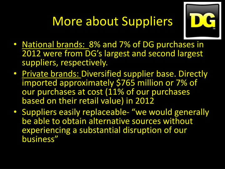 More about Suppliers