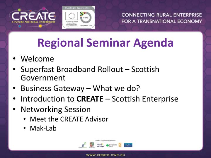 Regional Seminar Agenda