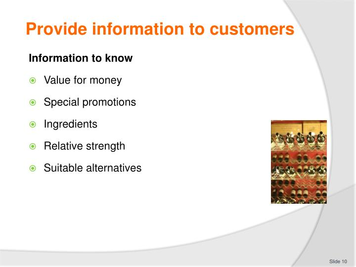 Provide information to customers