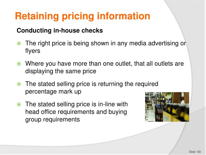 Retaining pricing information