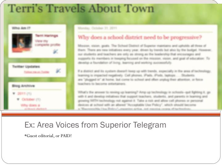 Ex: Area Voices from Superior Telegram