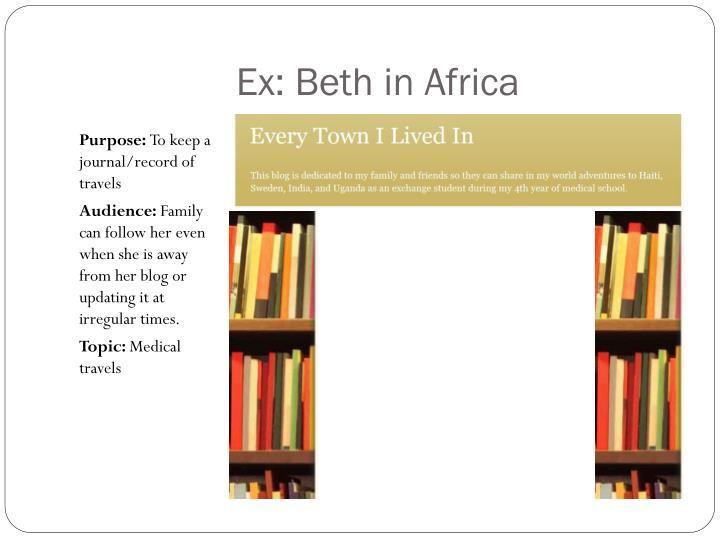 Ex: Beth in Africa