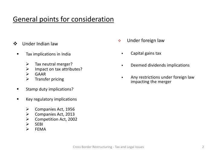 General points for consideration
