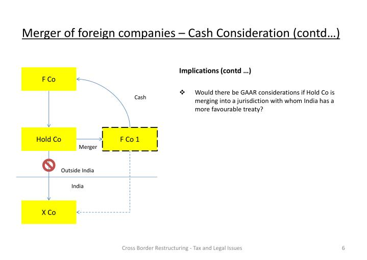 Merger of foreign companies – Cash Consideration (