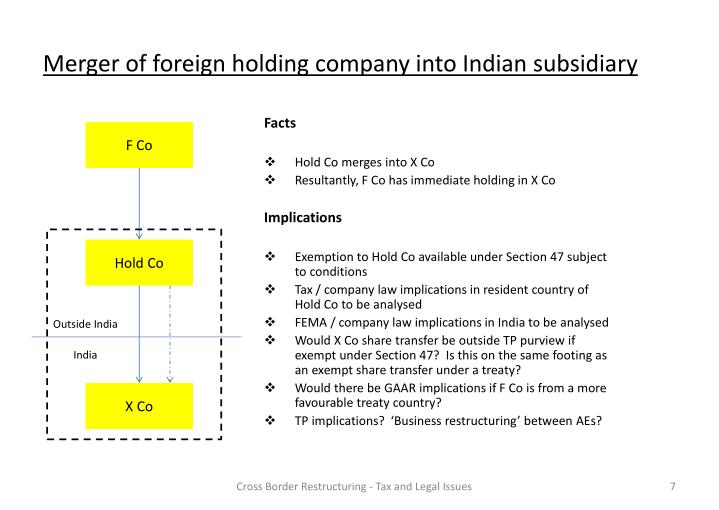 Merger of foreign holding company into Indian subsidiary