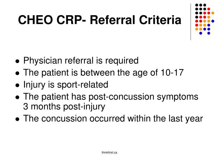 CHEO CRP- Referral Criteria