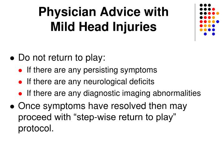 Physician Advice with                  Mild Head Injuries