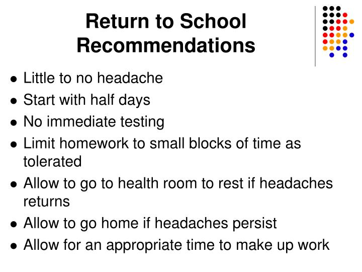 Return to School Recommendations