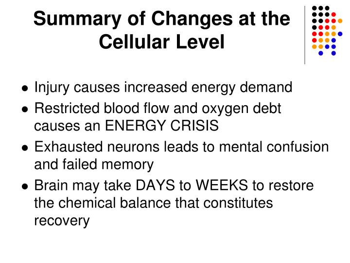 Summary of Changes at the Cellular Level