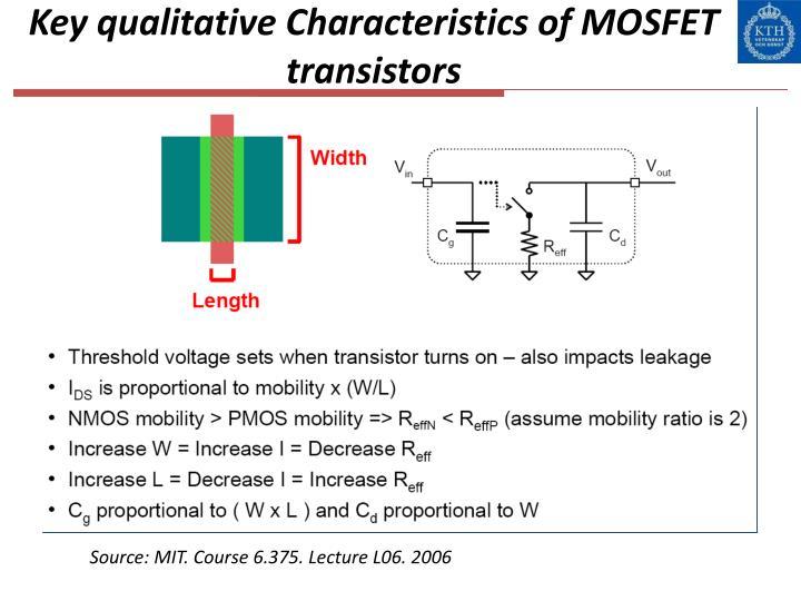 Key qualitative Characteristics of MOSFET transistors