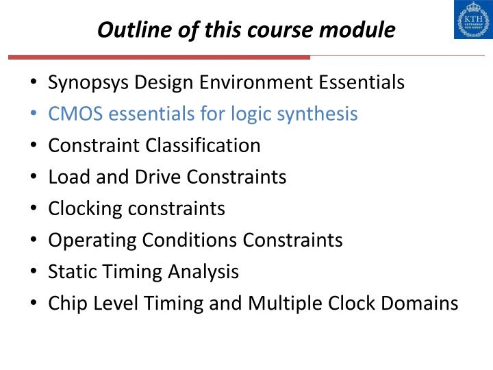 Outline of this course module