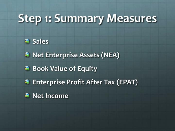 Step 1: Summary Measures