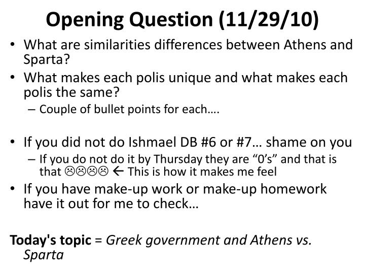 Opening question 11 29 10